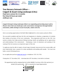 CALL Tree Nursery Outreach Officer advert 01