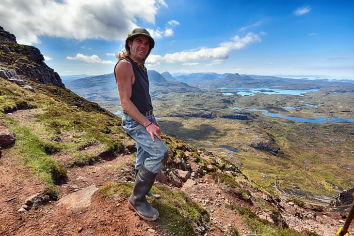 Johny enjoying the view from the work site. Photo © Chris Puddephatt