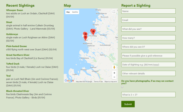 Assynt Field Club Sightings Reporting @ Assynt Field Club