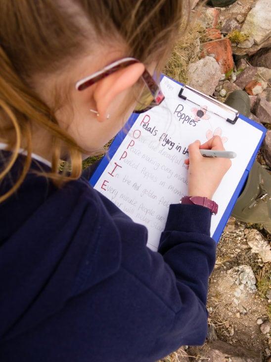 Writing a spell. © Katrina Martin/Scottish Wildlife Trust