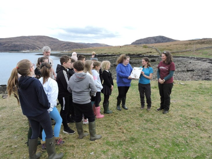 Kat and Fiona presenting Ullapool Primary School with their copy of The Lost Words book. © Vickii Campen/Scottish Wildlife Trust