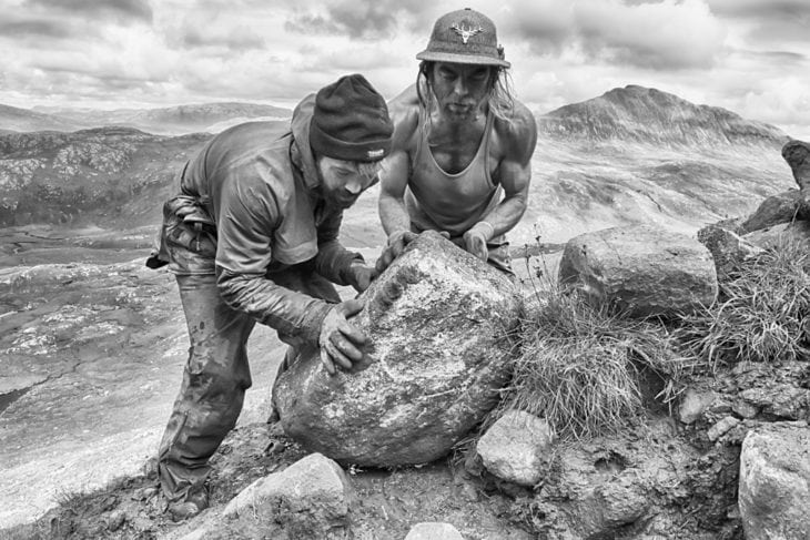 Xabi & Johny moving one of the final boulders into place. Photo © Chris Puddephatt.