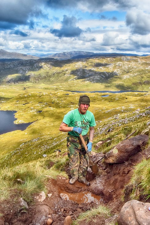 Rab back working on Suilven. Photo © Chris Puddephatt.