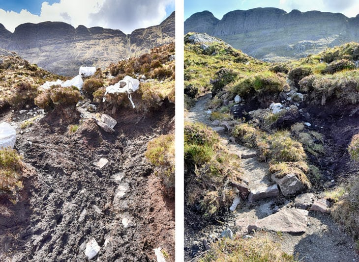 The evolved route to Suilven crosses peaty ground. And the same bit after work is completed. Photo © Chris Puddephatt.