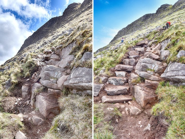 This awkward bedrock step was pushing walkers onto a number of different lines as they attempted to get past it. Some technical pitching up the side will should ensure everyone can now stick to the path. Photo © Chris Puddephatt.