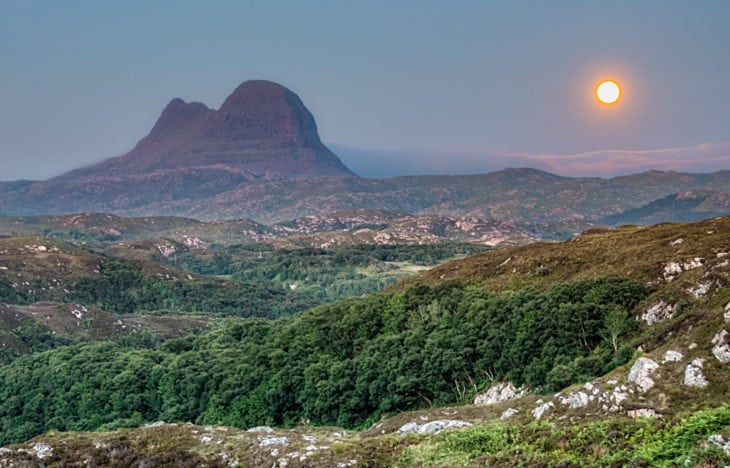 Suilven bathed in moonlight. Photo © Chris Puddephatt.