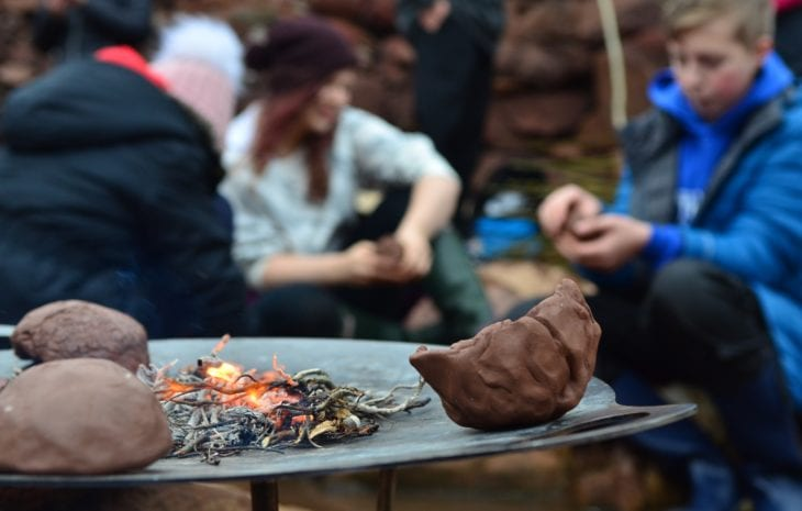 Making clay pots and drying them by the heat of the fire © Katrina Martin/Scottish Wildlife Trust