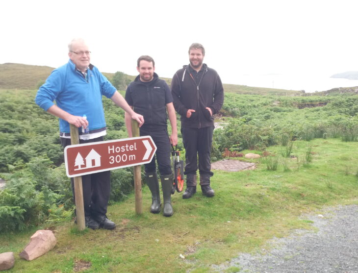 Donald Macleod (right), Local Development Officer of Coigach Community Development Company for the lead partner, Keith Mackay (centre), Technical Projects Officer from Outdoor Access Trust for Scotland providing project management support, & Andy Taylor (left), Managing director of A.C.T. Heritage Ltd. undertaking the path upgrade. © Boyd Alexander/Scottish Wildlife Trust