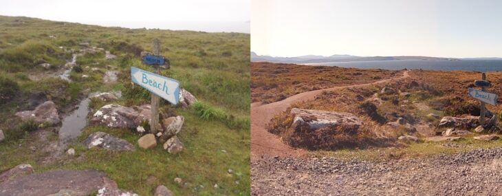 East Acheninver Beach Path before and after! © Boyd Alexander/Scottish Wildlife Trust