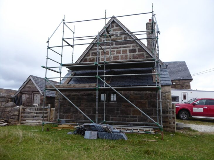 Repairs to the Hall's West Wall in progress